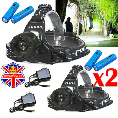900000LM Zoomable Headlamp T6 LED Headlight Flashlight +Charger+18650 Battery UK