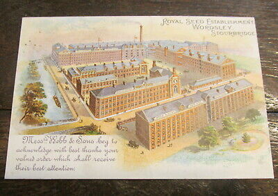 Antique Webb & Sons Royal Seed Factory Wordsley Stourbridge Advertising Postcard