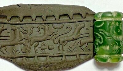 RARE NEAR EASTERN CYLINDER SEAL - (panther, spider, reindeer) 15,6gr 23mm