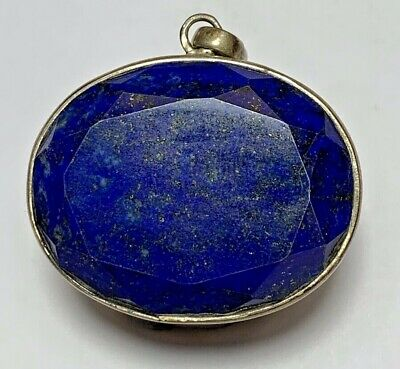 ANTIQUE VINTAGE SILVER AMULET WITH LAPIS LAZULI STONE 14.4gr 39mm