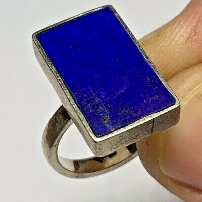 ANTIQUE VINTAGE SILVER RING WITH LAPIS LAZULI STONE 6.5gr 23mm (INNER 19mm)
