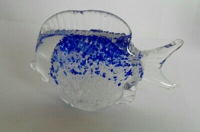 Handmade Glass Fish Blue Tropical Design Paperweight ID0594