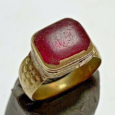 LATE MEDIEVAL SILVERED RING WITH RARE BRILLIANT STONE 5.3gr 26mm (inner 20mm)