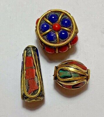 Lot Of 3 Beads Late Medieval Silver Goldplated - Rare Stones Pendant