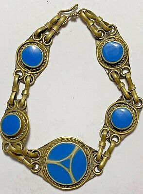 EXCEPTIONAL, AMAZING, FANTASTIC, BLUE Silver Bracelet Egyptian Revival
