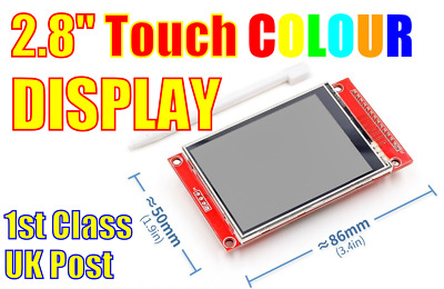 """2.8"""" COLOUR TOUCH TFT 240x320 Display Panel with SPI & SD Slot.  Arduino ESP Pi"""