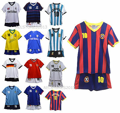 Football Kit T-Shirt Shorts Set Top Vest Summer New Boys Girls Size 3-4 Years