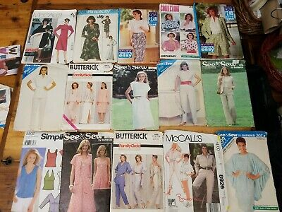 Vintage lot (15) Sewing Patterns Simplicity Butterick McCall's  1980s sz 8-12