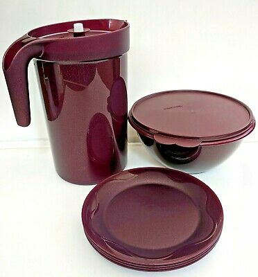 """TUPPERWARE Open House Set 1 Gal Infusion Pitcher 10-12 Cup Bowl 8"""" Plates Merlot"""