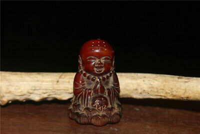 "1.77"" Chinese Exquisite Ox horn Hand carved Lotus boy Buddha statue"