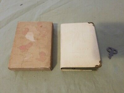 Vtg Old Antique Savings For Baby The Baby Book Bank w/ Key & Original Box