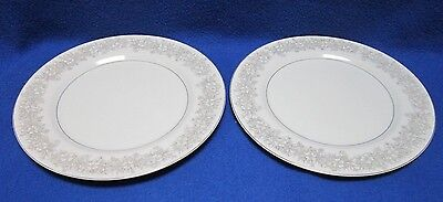 2 Narumi China Occupied Japan Era Large Dinner Plate Grey Pewter Silver Trim