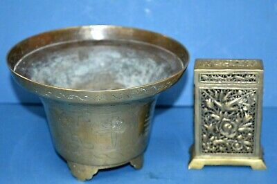 Antique Chinese Brass Bowl / Censor And Card / Match Box,c1920