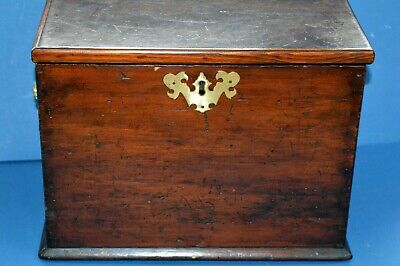 Large Antique Mid 19th Century Mahogany Box, Lion Mask/Ring Handles,c1850