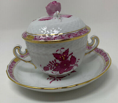 Herend - Chinese Bouquet (#744) - Pink / Rose - Soup Coupe, Lid & Saucer
