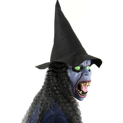Halloween Latex Scary Old Witches Zombie Mask with Black Hair Hat Horror Womens