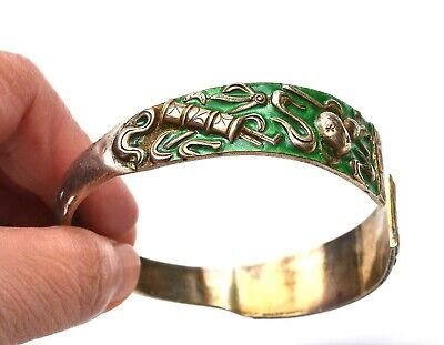 1930's Chinese Gilt Sterling Silver Enamel Gourd Motif Bangle Bracelet Cuff