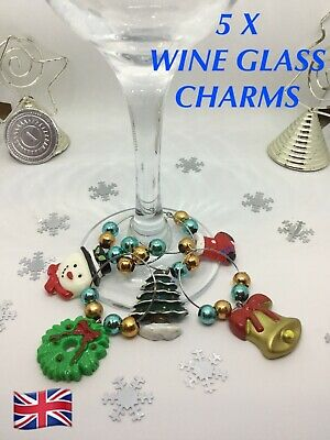 Christmas Wine Glass Charms 6-10 Secret Santa Stocking Fillers BLUE Xmas Gifts