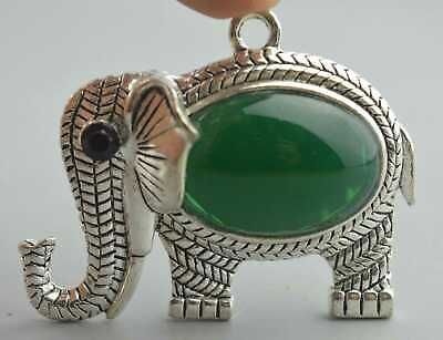 Collection Handwork Miao Silver Carve Elephant Inlay Agate Fashion Noble Pendant