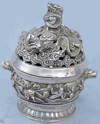 Collectable China Handwork Tibet Miao SIlver Carve Exorcism Dragon Tibet Statue