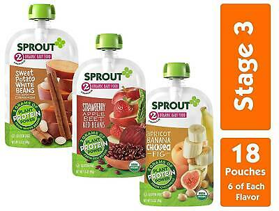 Sprout Organic Stage 3 Baby Food Pouches, Meat Variety, Pack of 18