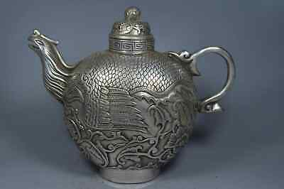 Collection Handwork old Miao Silver Carve Exorcism Phoenix Auspicious Tea Pot
