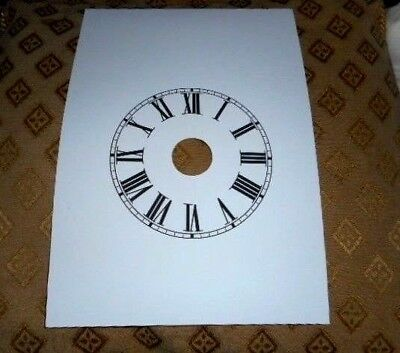 "Paper (Card) Steeple Alarm Clock Dial - 5"" M/T-Roman - MATT WHITE- Parts/Spares"