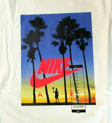 Nike Air Boys Tee White with Sunset logo and Palm trees T-shirt C19649-100 []