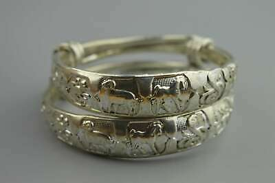 Ancient China Collectable old Miao Silver Carve 12 Zodiac Souvenir Pair Bracelet