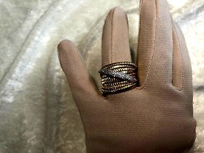 Italian Silver Pave' Crystal 18K Clad Sterling Tubogas Ring, Size 8 (M1138-98)