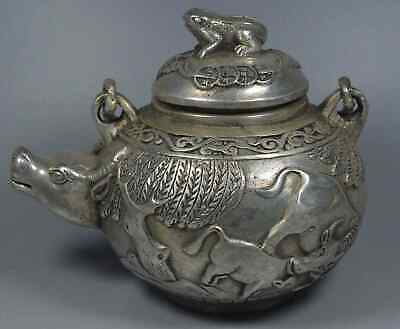 China Collectable Handwork Old MIao Silver Carve Bull & Willow Souvenir Tea Pots