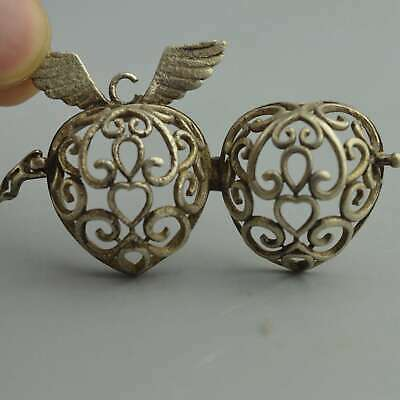 China Collectable Handwork Miao SIlver Carve hollow Wings Flower Usable Pendant