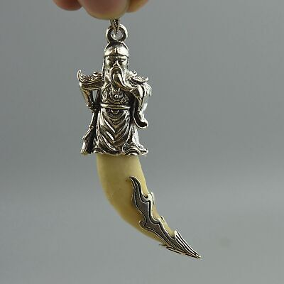 China Collection Handwork Old Miao Silver Carve Exorcism Warrior Usable Pendant