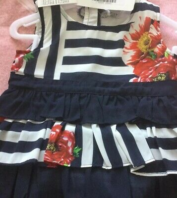 Jeycat Designer Girls Outfit Age 5 Navy And White Striped Flowered Top & Pants.