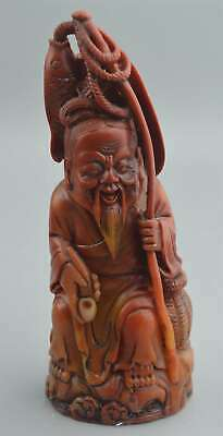 Collectable Handwork Tibet Old Shoushan Stone Carve Fisherman Auspicious Statues