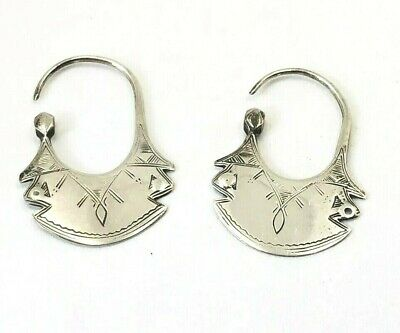 North African Earrings Antique Sterling Silver Ethnic Tribal