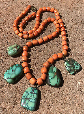 """Old Chinese Salmon Red Natural Coral & Turquoise Gilt Silver Dangle Necklace 26"""""""