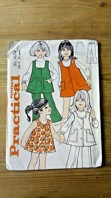 Vintage 70s Girls Tunic Trousers Dress Practical Sewing Pattern 6674 3-5 years