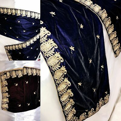 Indian pure Micro Velvet Shawl Wedding Bridal Winter Heavily Embroidered