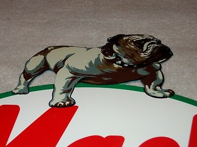 "Vintage ""Mack Trucks"" W/ Die-Cut Bulldog 11"" Baked Metal Gasoline & Oil Sign Gas"