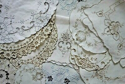 Job Lot Bundle 12 Vintage Madeira Embroidered Table Linen Doilies Tray Cloths