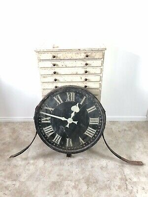 Large Industrial Cast Iron Magneta Railway Factory Station Platform Wall Clock