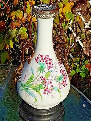 19th Century French Ormolu Mounted Ceramic Floral Painted Vase Wooden Base 37cm