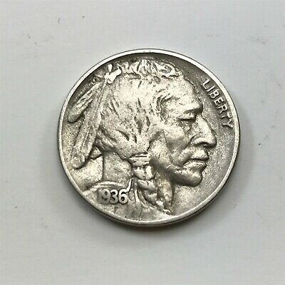 ANTIQUE 1936 INDIAN FACE & Buffalo Back USA Five Cents Nickle Coin <T14 / C18