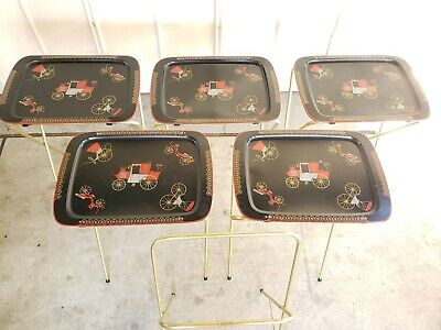5 Mid Century Vintage Cal Dak Metal TV trays 1950s W folding stand buggy pattern
