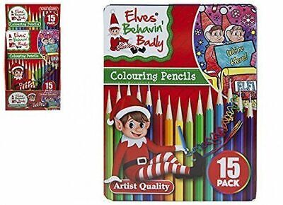 Xmas Christmas Colouring Pencils - Elves Behaving Badly Artist Quality Tin of 15