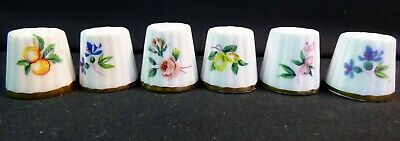 6 - Vintage Sewing Thimbles - Canadian Classic Fine Bone China 1970's