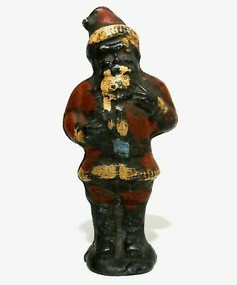 Rare Late 19Th-Early 20Th C Antique Cast Iron Santa Claus Doorstop, W/Orig Paint