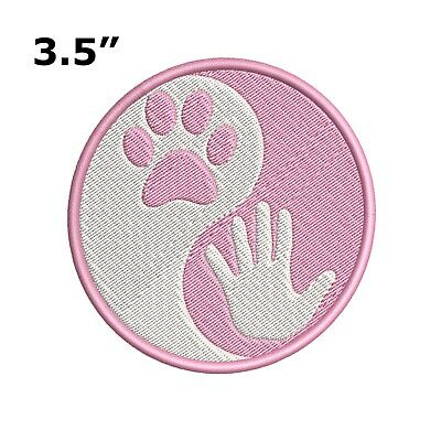 Yin Yang Paw Hand Print Embroidered Patch Iron-On / Sew-On Pet Love Dog Cat Ying