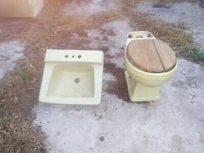 Antique Mid Century Matching Lime Green Sink & Toilet